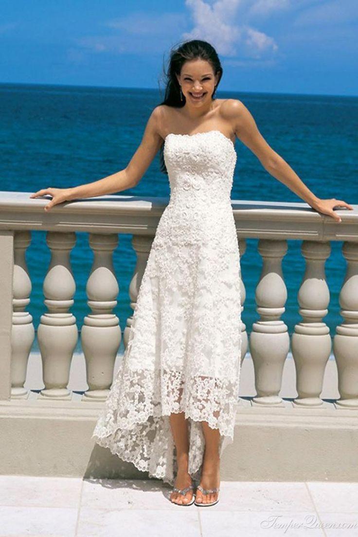 Online Bridal Dresses 2015 A Line Ankle Length Lace Dress Strapless High Low Design Lace Gown Beach Wedding Dress Lace Bridal Dresses From Promotionspace, $72.82  Dhgate.Com