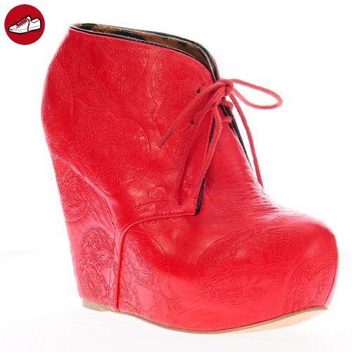 Iron Fist Damen New TIGRE & BUNNY rot Keil Pumps Stiefelie Plattform Rock Schuhe 36 - Ausgefallene schuhe (*Partner-Link)