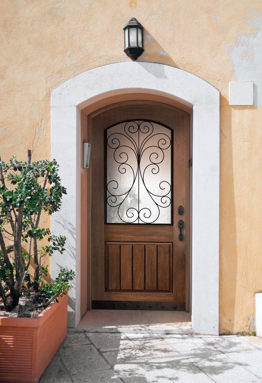 Plastpro Rustic Style 2 Panel Arch Top V Groove Fiberglass Exterior Doors  With Camelia Half