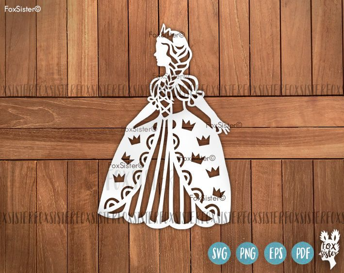 Princess SVG Papercut Templates, SVG Bundle! 4 designs!   Princess silhouette svg cut file   Birthday svg   kids svg   girls svg Cut Out   for Cricut Cameo For personal and commercial use. -------------------------------------------------------------------------------------------------- 3