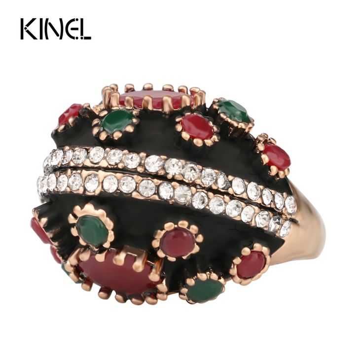 Unique Vintage Ring 2017 Fashion Gold Plated Oval Crystal Flower Turquoise Antique Rings For Women Turkey Jewellery