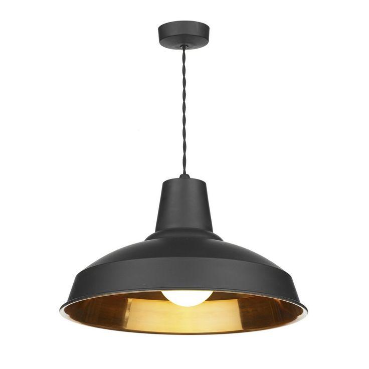 David Hunt Lighting REC0154 Reclamation Industrial Pendant Light in Matt Black and Copper Inner