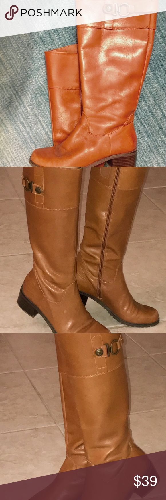 Anne Klein Akkacey Wide Calf Brown Leather boots Anne Klein Womens Akkacey Wide Calf Brown Leather Boots Size 7M Width is regular, not narrow. New without Box. See pictures for details.  Leather upper.  Side zip closure.  Elastic panel for custom fit.  Anne Klein logo printed on hardware at the top.  Smooth man made lining.  Lightly padded insole  Retail Price - $155 Anne Klein Shoes Winter & Rain Boots