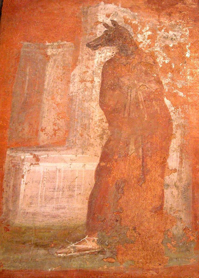 Priest with mask of Anubis, from the portico of the Temple of Isis at Pompeii, Italy; now in the Naples Archaeological Museum