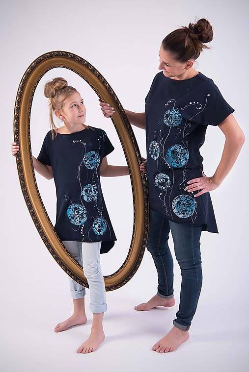 Tmavomodrá tunika kruhy pre dievča #detskamoda#jedinecnesaty#handmade#originalne#slovakia#slovenskydizajn#móda#šaty#original#fashion#dress#modre#ornamental#stripe#dresses#vyrobenenaslovensku#children#fashion#rucnemalovane