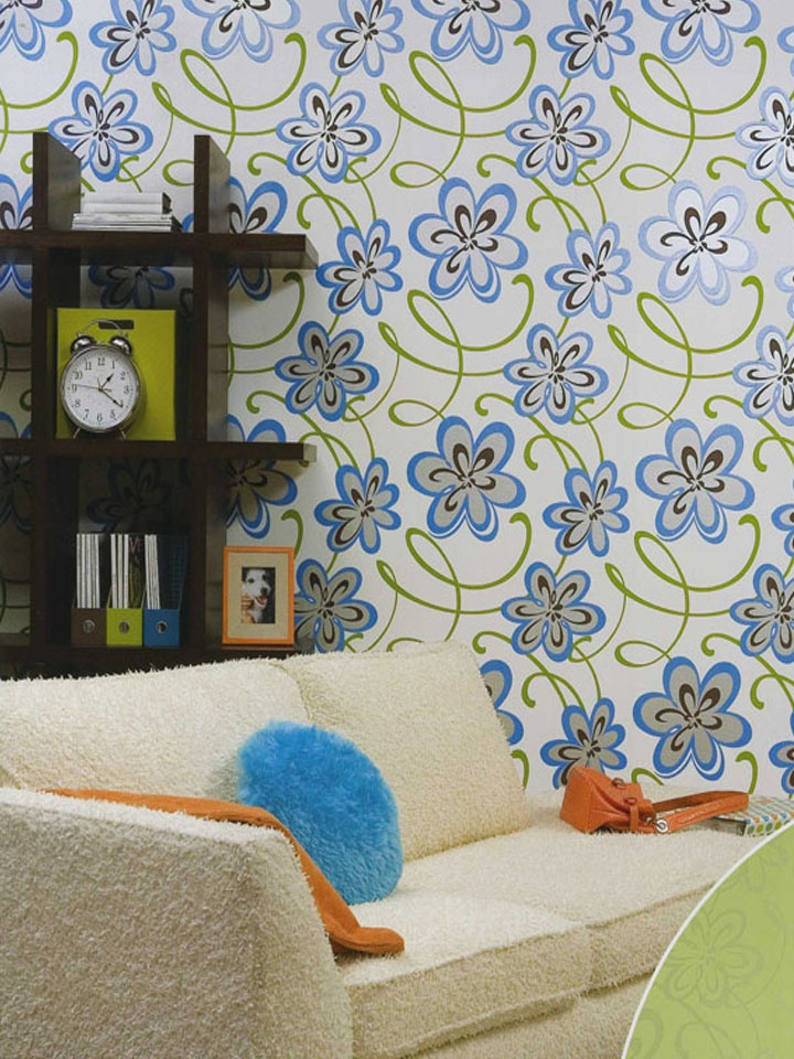 Perfect teen hide out with floral wallpaper http://lelandswallpaper.com. Width: 27 in,   Repeat: 25.25 in, pre-pasted, washable, strippable.  white background with green swirls and mod blue, metallic silver and chocolate flowers $25.95 per single roll