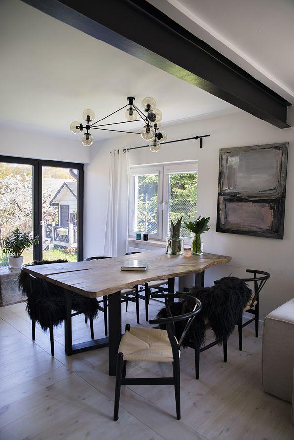 Scandinavian dinning room - natural edge table #dinningroom #dinningtable #naturaledgetable