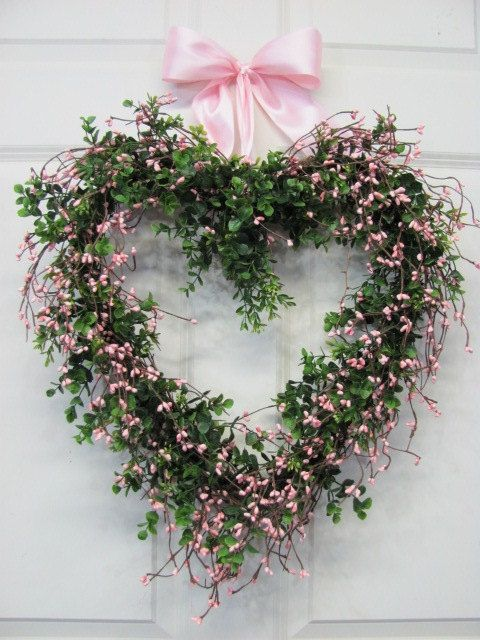 Items similar to Front Door Wreath - BOXWOOD Pink Berry Heart Wreath - Wedding Wreath - Pip Berry Wreath -Summer Door Wreath on Etsy