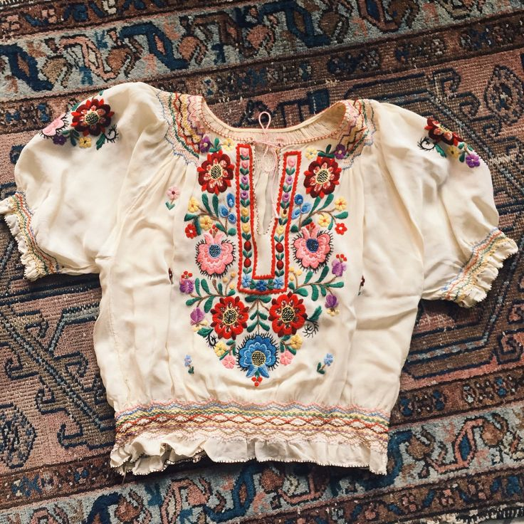 1930's Hungarian embroidered blouse