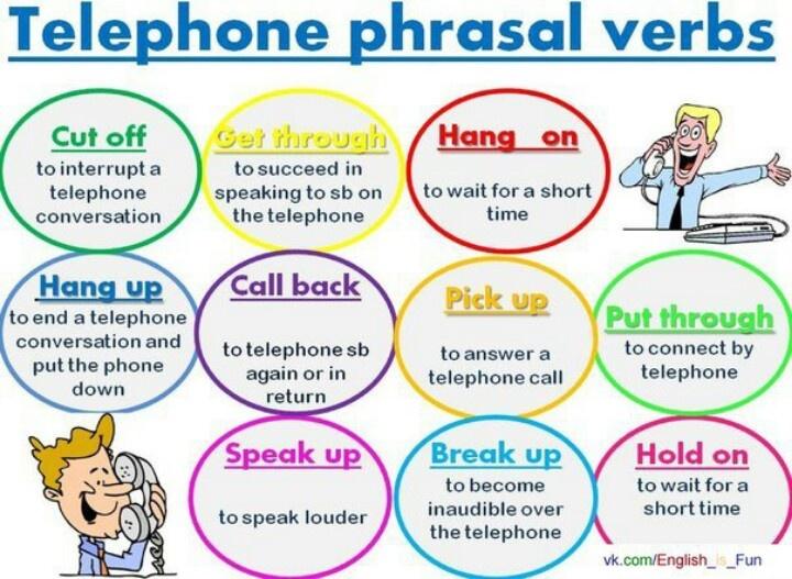 Telephone phrasal verbs in English