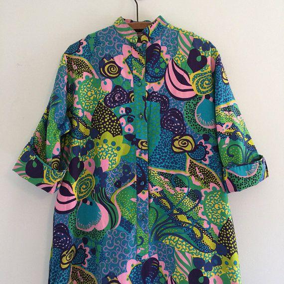 Vintage 70's Penthouse Gallery Maxi Caftan Dress M