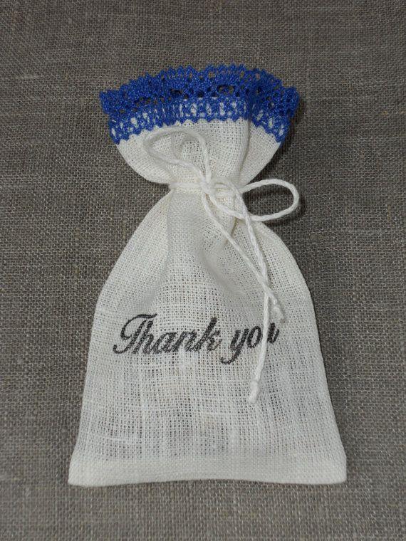 Wedding Favor Bags Linen Burlap And Lace Sachets White Blue Candy Bar Set