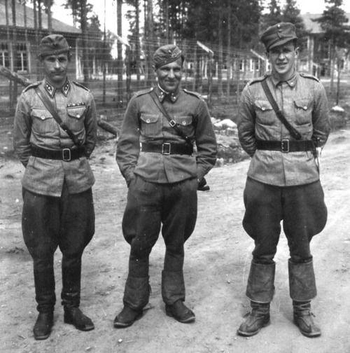 Finnish officers in summer tunics. Winter War