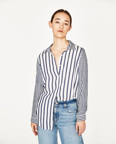 CONTRASTING STRIPE SHIRT-NEW IN-WOMAN | ZARA United States