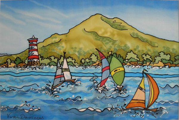 Racing by Rangi Light, Auckland, NZ - Silk Painting.
