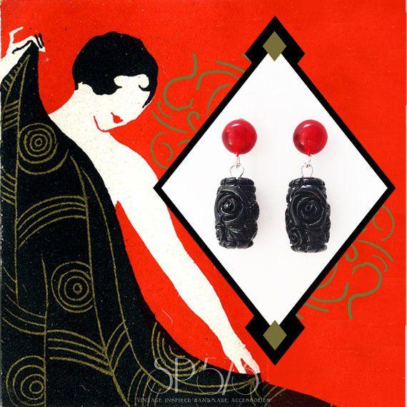 Black Earrings Craved rose Bicolor Red Earrings Repro by sp573