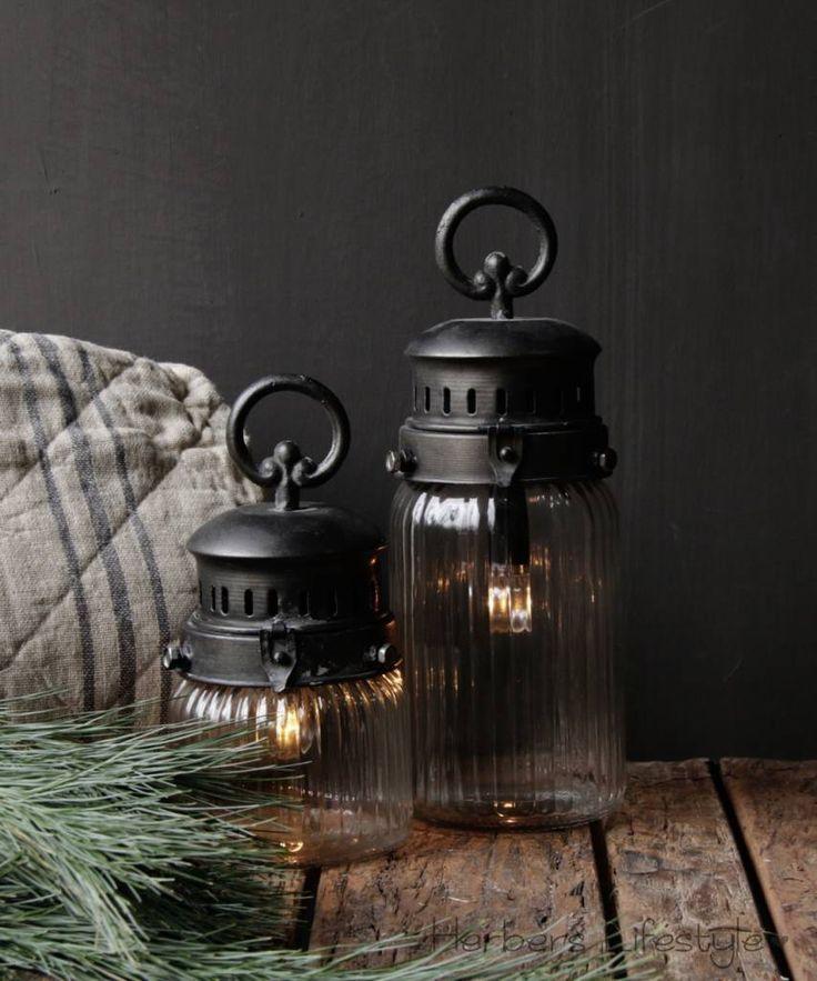 Stoer lantaarn met kogellampje op batterij - HerbersLifestyle