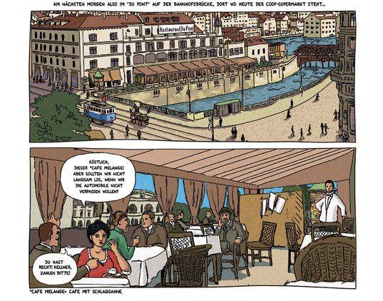 Alter Globus, gedecktes Brüggli, Comics Märchenmaler von Zürich