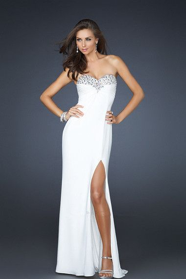 Pretty Prom Dresses 2013 White Sheath Column Sweetheart Chiffon Open Back online shop affordable for fashion