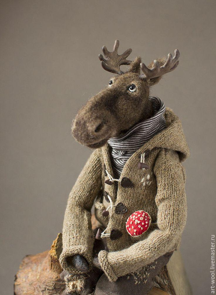 Купить Уважаемый Лось,.. - коричневый, лось, игрушка лось, лесные жители, интеллект, мухомор, лес