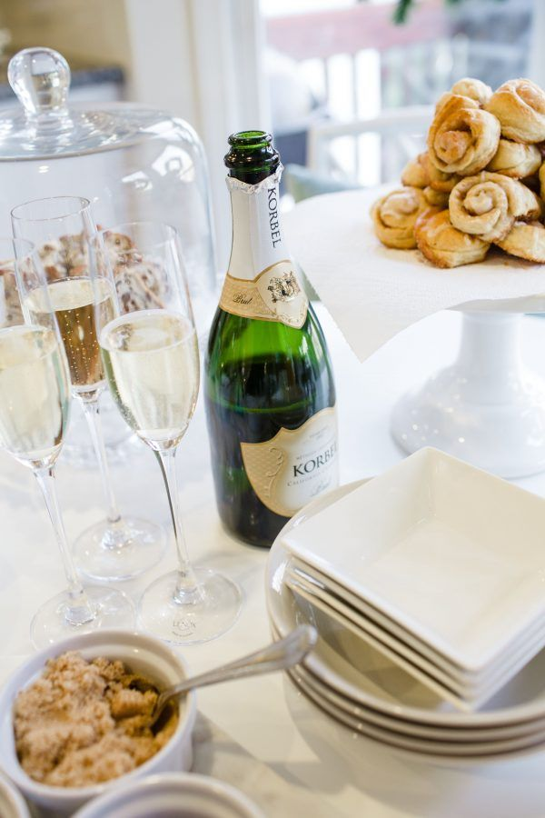 Korbel Champagne and Crescent Cinnamon Rolls