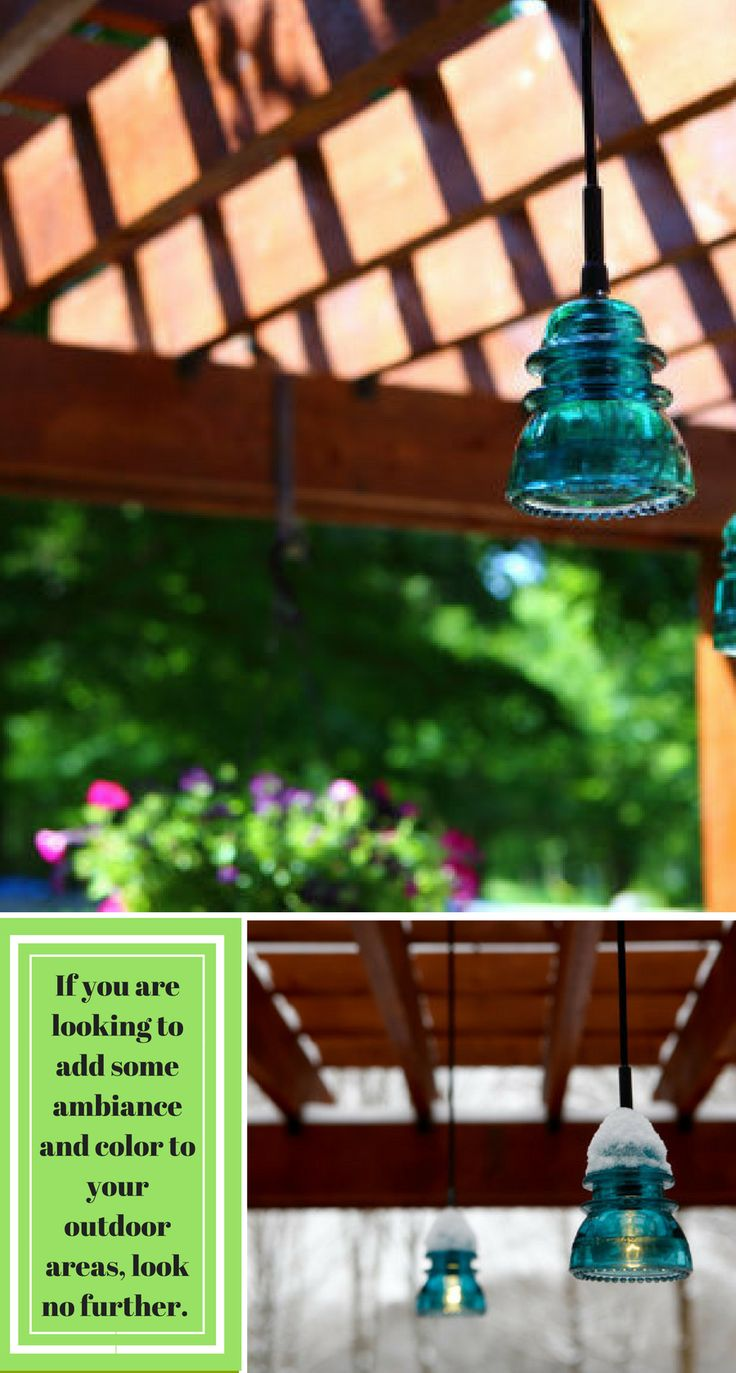 These Outdoor Patio Pergola Insulator Pendant Lights would look awesome hanging in the trees that surround your outdoor seating area. By using a 7-15 watt candelabra bulb, you can use a bunch of these without fear of overloading a circuit #outdoors #lighting #patio #afflink
