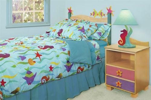tropical fish comforters sets | Bedding Set - Twin - Comforter, Bedskirt, Pillow Sham - Blue Tropical ...