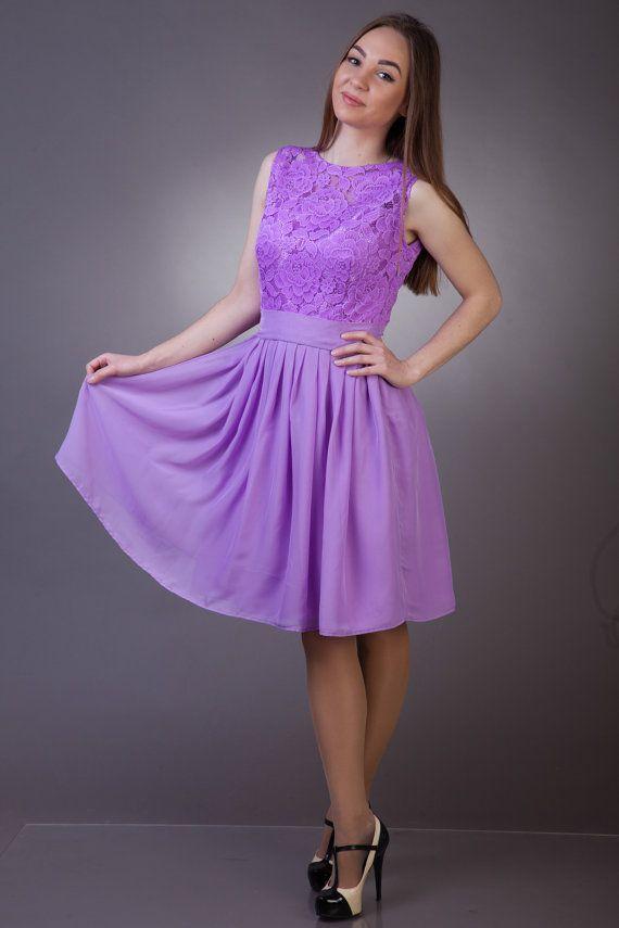 Luz púrpura Dama de honor vestido de encaje morado vestido vestido vestido de Cóctel primavera Dama de honor vestido de verano vestido de Dama de honor vestido de Dama de honor corto