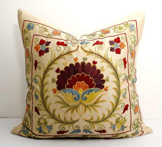20x20 fully silk handmade embroidery suzani pillow cover, Bohemian Ethnic…