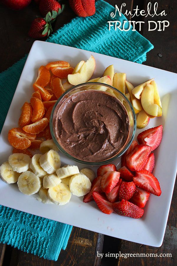Healthy Nutella Fruit Dip made with two easy ingredients. Our household LOVES this!!!