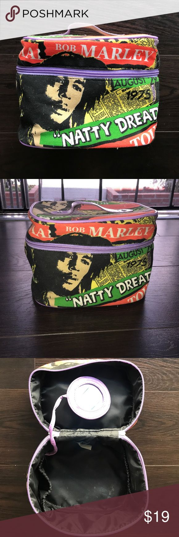 "PRICE DROP 🔴 Bob Marley Train Case from Jamaica Bob Marley Train Case from Jamaica. EUC. Includes a small attached mirror. Approximately H:5"" W:8"" Bags Travel Bags"