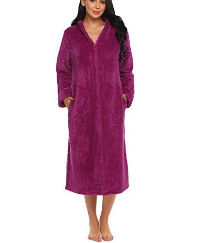 Lamore Bathrobe For Women Zipper Soft Warm Fleece Kimono