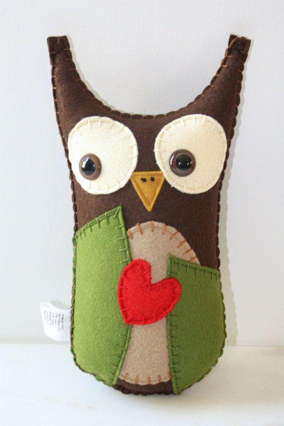 Felt Owl Plush Stuffed Animal Owl Stuffed Animal by SAumanSmith