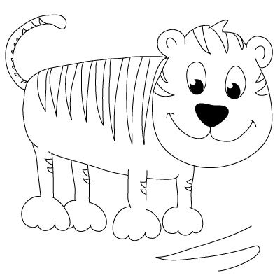 how to draw a tiger - Simple Drawing For Toddlers