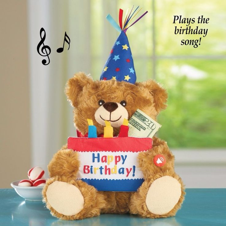 Musical Happy Birthday Plush Teddy Bear with Money and Gift Holder Cake Gift #MusicalToy #Musical #Toy #BatteryOperated #Plush #TEddyBear #MoneyHolder #GiftHolder #Home #LivingRoom #BedRoom #Play