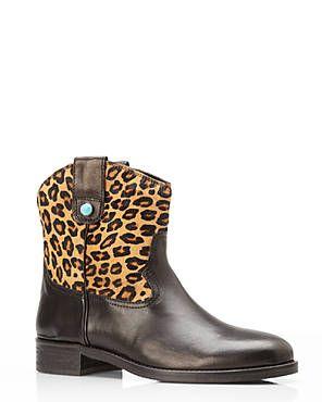 ITALIAN DESIGNER BOOTS Black Leopard Print Ankle Boots