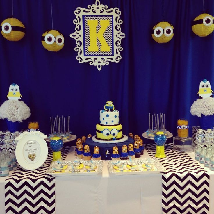 very own custom designed minion dessert and candy buffet table minion