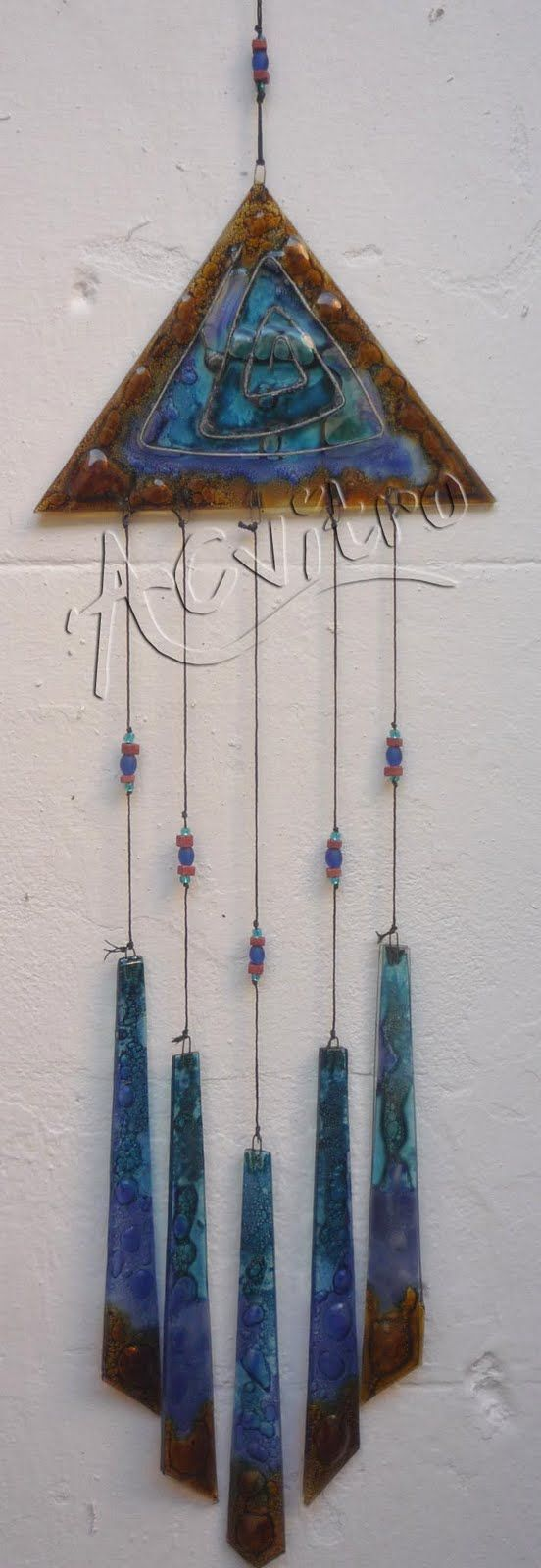 blue and brown glass triangle wind chime