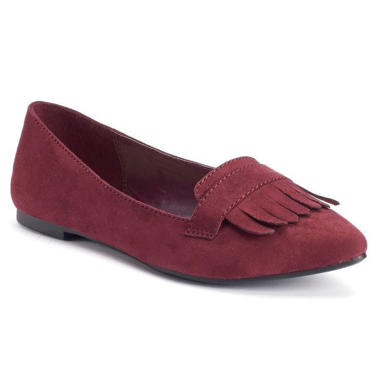 LC Lauren Conrad Women's Pointed Toe Loafers, Size: 6.5, Red