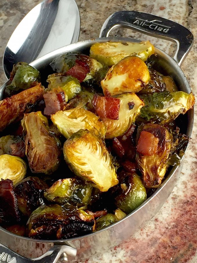 Maple Bacon Brussels Sprouts Recipe - This perfect holiday side dish features brussels sprouts, crispy and charred, mixed with maple syrup and nestled against crisp cracklings of hickory smoked bacon. Unbelievable! - theoptimalistkitchen.com