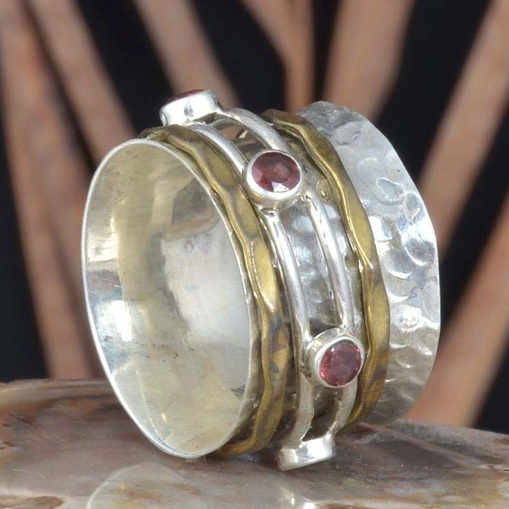 EXOTIC 925 SOLID STERLING SILVER GARNET SPINNER RING 5.90g DJR11395 SZ-6 #Handmade #Ring