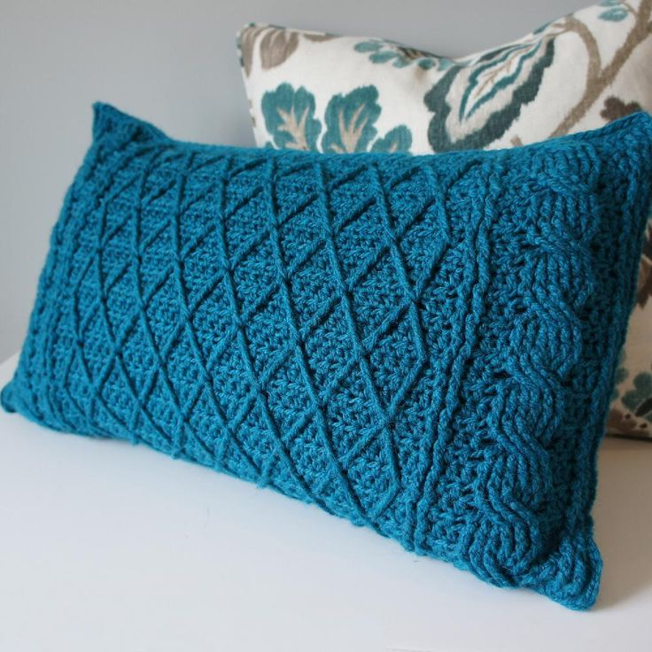 Cables and Lattice Cushion on teh LoveCrochet blog