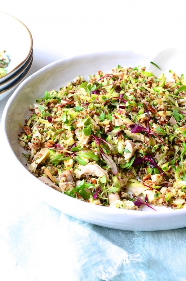 Chicken, quinoa and fresh courgette salad with Fairview feta, honey crunch apples and toasted pecan nuts! Try this delicious recipe from Bibby's Kitchen @ 36 #FairviewCheese #FairviewPaarl http://bit.ly/1GjB5OS