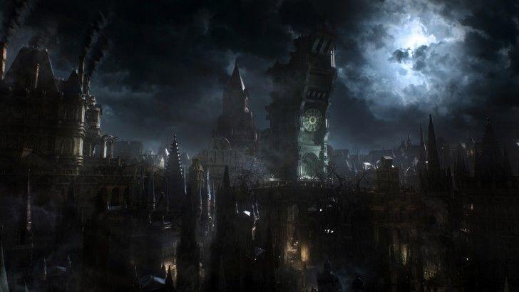 Dark Night Gothic City Landscape Bloodborne Video Game