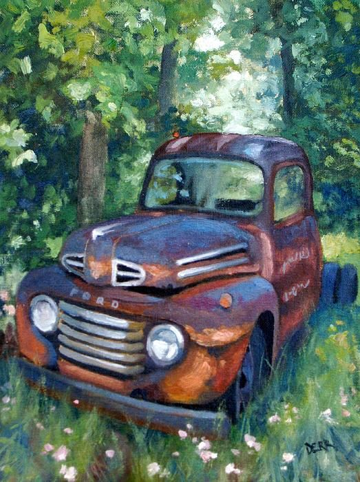 Oil painting of an old Ford truck I pass often in Crittenden Co, KY.