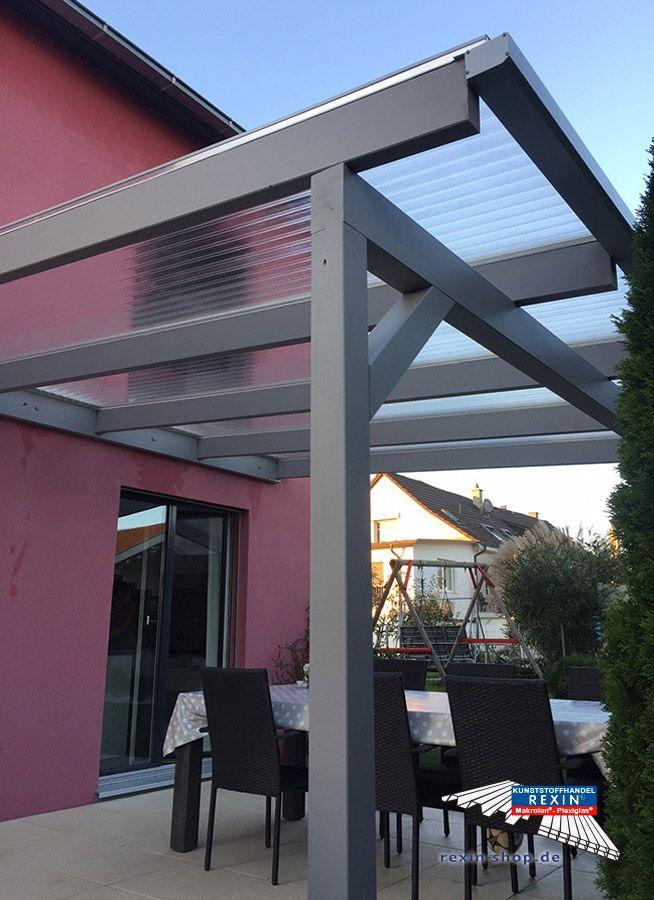 Ein Holz Terrassendach Der Marke Rexocomplete 4m X 4m Mit Plexiglas Resist Stegplatten 16 64mm In Trans Uberdachung Terrasse Terrassenuberdachung Terrassendach
