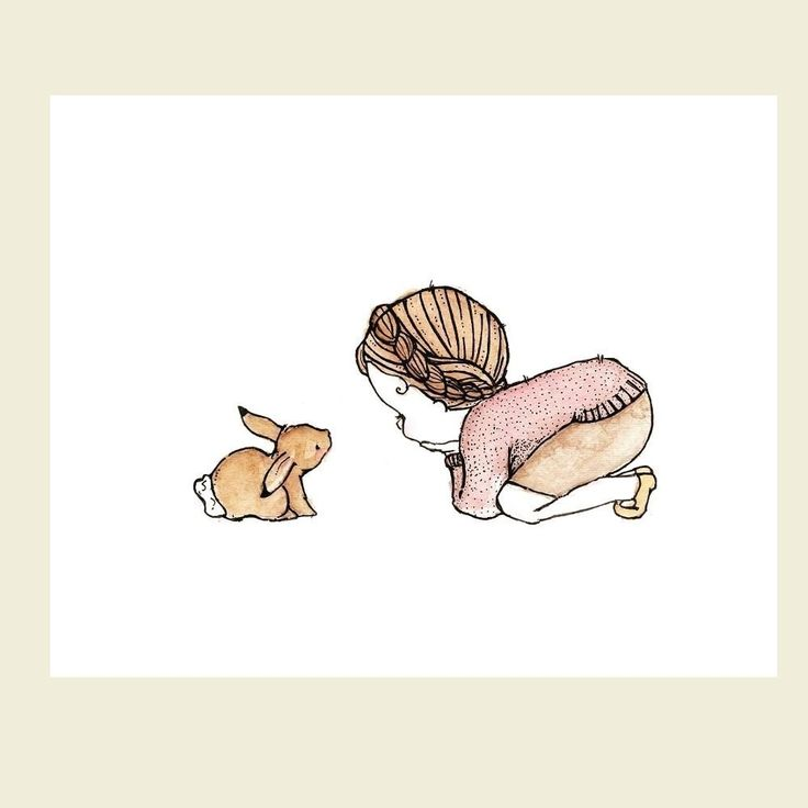 Children Art Print for Baby, Nursery  woodland bunny theme Rabbit Girl 5x7. $10.00, via Etsy.