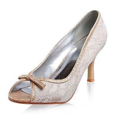 Top Quality Lace/ Flash Powder Upper Stiletto Heel Peep Toe Fashion Shoes – USD $ 33.59