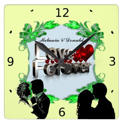 LOVE FOREVER SQUARE WALL CLOCK - valentines day gifts love couple diy personalize for her for him girlfriend boyfriend