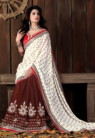 Off White Art Silk Jacquard and Faux Georgette Saree with Blouse